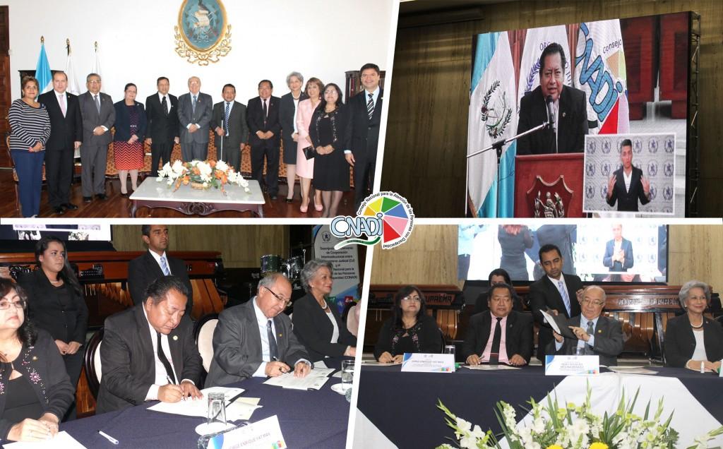 En el marco de los XX años del CONADI se firmó el convenio de cooperación interinstitucional con el Organismo Judicial