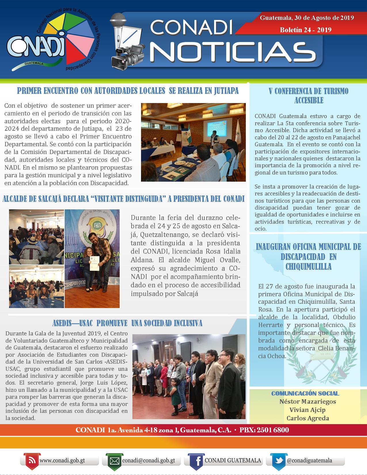 CONADI NOTICIAS, BOLETÍN 24-2019