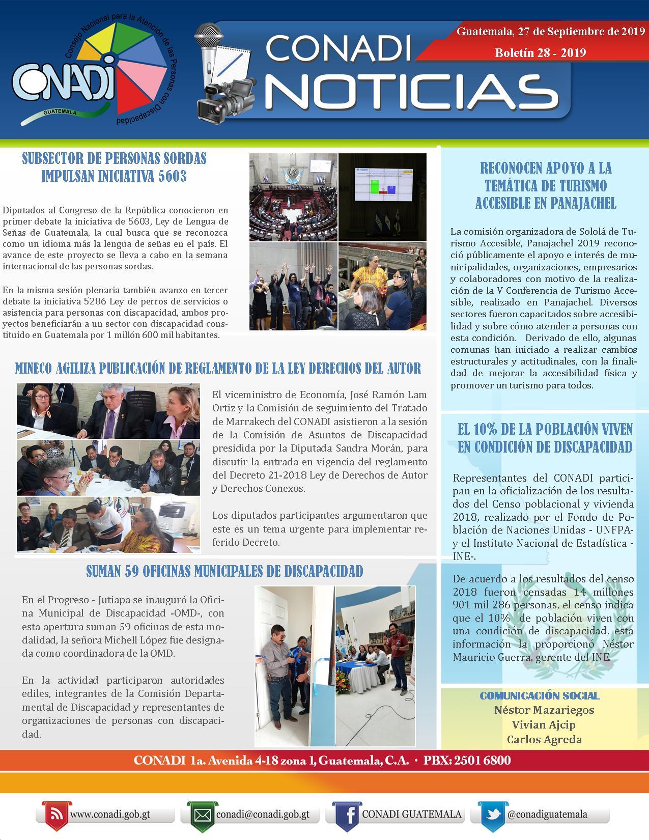 BOLETÍN CONADI NOTICIAS 28-2019