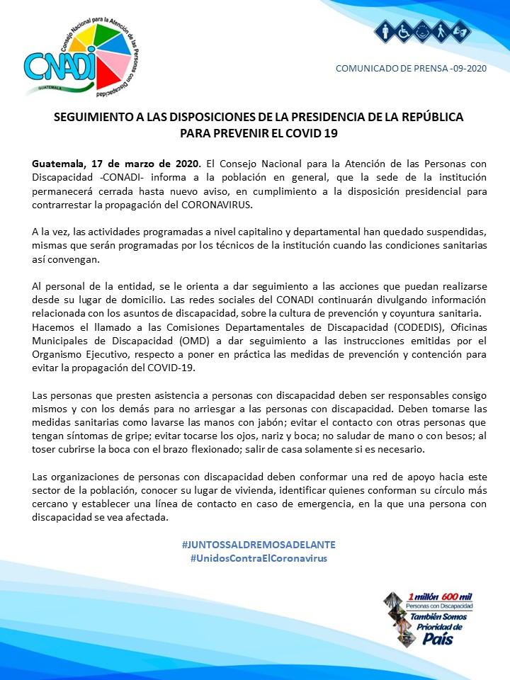 COMUNICADO 9-2020