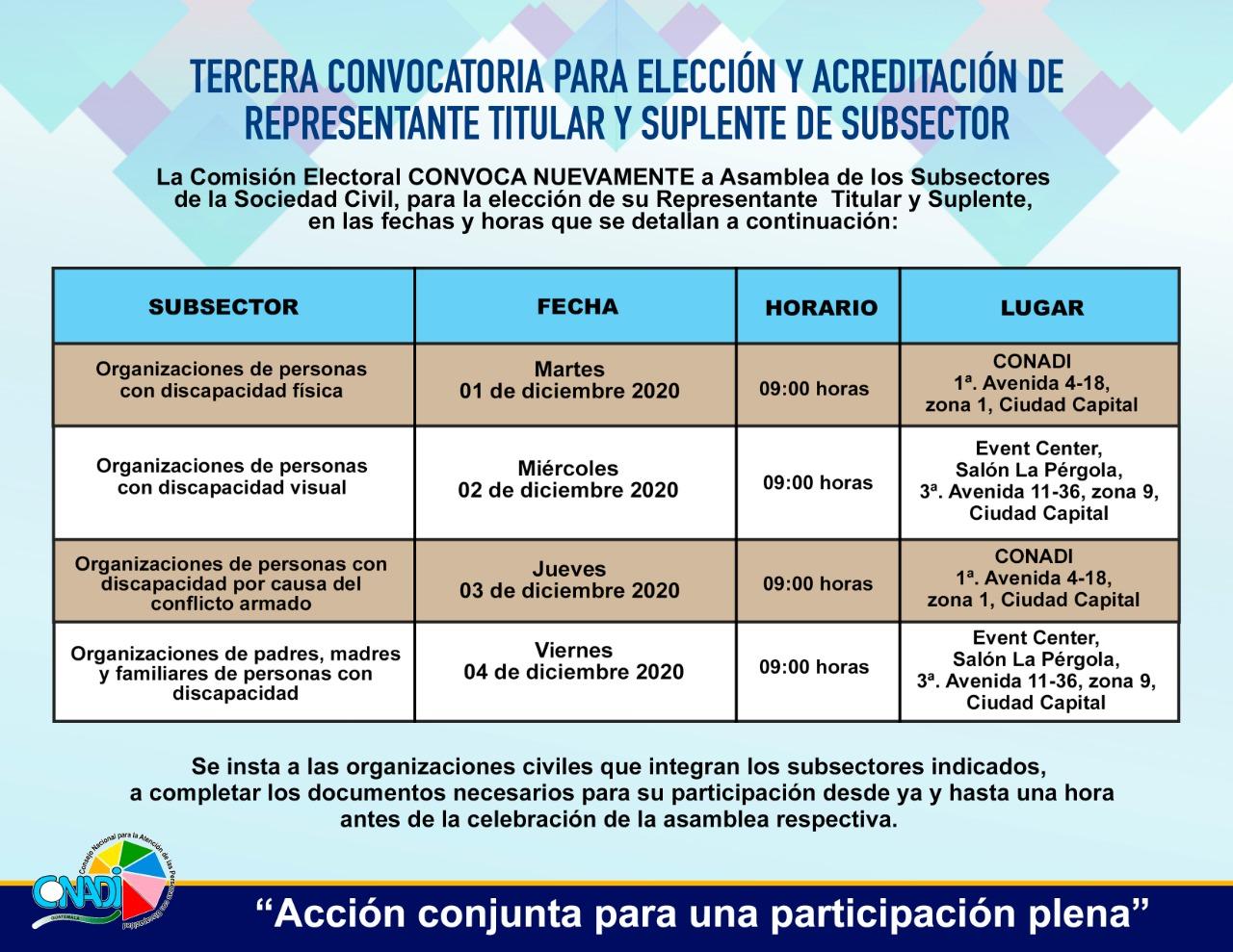 TERCERA CONVOCATORIA PARA ELECCIÓN Y ACREDITACIÓN DE REPRESENTANTE TITULAR Y SUPLENTE DE SUBSECTOR
