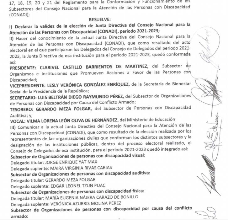 Resolución de Comisión Electoral sobre el aval del proceso electoral del CONADI